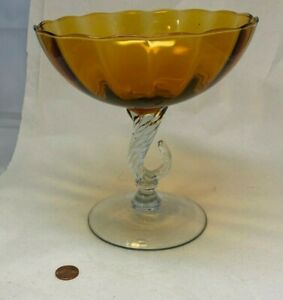 Mid Century Modern Empoli Murano Golden Amber Topaz Vase Italian Perfect Hand Blown Art Glass Compote Vase With Spiral Twisted Stem