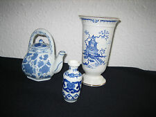 Oriental Blue & White Willow Pattern Style China - 2 x Vase & Small Teapot