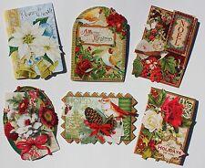 *PUNCH STUDIO Set of 6 Die Cut Blank Christmas Note Cards w/Env ~ Floral ~ Birds