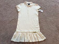 New Ralph Lauren Girls Essex Cream Short-sleeved Ruffled Polo Dress. Size XL(16)