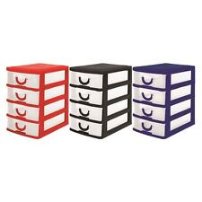4 DRAWER MINI DESK DRAW Storage Trays Office Organiser Jewellery Craft Box Colou
