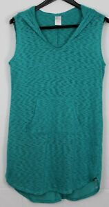 MERONA Medium Women's Cover-Up Swimwear Sleeveless Hooded Pullover Teal Blue