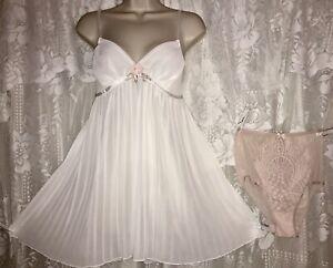 VTG NWOT Design S White Pleated Chiffon BABYDOLL Nightie + NWT Fancy Panties