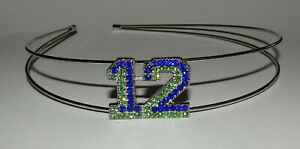 12 Headband Blue Green Crystal Accents New Silver Tone Hair Decoration Jewelry