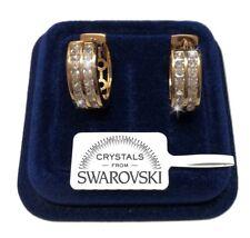 Cerchi Orecchini uomo donna pl. oro giallo 18K con cristalli swarovski SW4/2