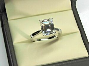 2.20 ct Emerald Cut Moissanite Solitaire Wedding Engagement Ring 14k White Gold