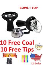 Hookah Silicone Head Shisha Bowl Top + Heat Mngmnt w 10 Coal 10 Tip Accessories