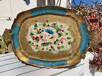 "12""Italy Florentine Tole Papiermache Serving Platter Tray Flowers Gilt,Pink&Blue"
