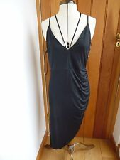 RIVER ISLAND ROUCHED SEXY BLACK ARISTO PUNK STRAPPY PARTY COCKTAIL DRESS UK 14