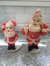 """Lot of 2 Vintage 1950s Gurley Wax Santa Claus Figure Candles 5&7"""" Tall"""