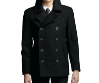 Men's Big & Tall Black Double Breasted Wool Blend Peacoat Winter Jacket