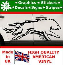 Sticker Run Wolf Flame Set of 2 Car Side Graphics 4x4 Decals Vinyl Sport Van 32