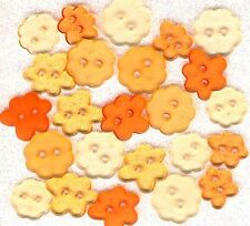 Tropical Orange CLEAR FLOWERS Garden Nature Summer Spring Sewing Craft Buttons