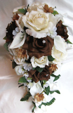 Wedding Cascade Bouquet Bridal Silk flowers Cream Brown Calla Lily 23 pc package