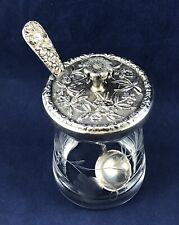 Vintage S Kirk & Son Mustard Jar with Sterling Silver Lid & Matching Spoon