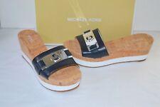 New $110 Michael Kors Warren Admiral Leather Blue Platform Slide Sandal sz 9.5