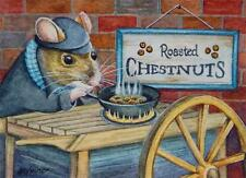 ACEO Limited Edition Print Dickens Christmas Mice No. 1 Chestnuts by J. Weiner