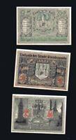 3x Notgeld STADT FINSTERWALDE Brandenburg 25, 50, 75 Pf 1921  top
