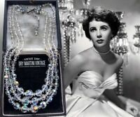 VINTAGE 1950s AURORA BOREALIS CLEAR CRYSTAL TRIPLE STRAND NECKLACE BRIDAL GIFT
