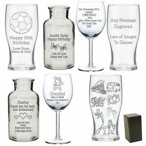 Personalised Engraved Glass Gifts For - Birthday 30th 50th - Christmas Gifts