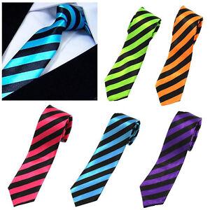 New Fashion Mens Skinny Striped Necktie Unisex Smart Tie Casual Formal Cool UK