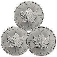 2017 Canada $5 1 oz. Silver Maple Leaf Lot of 3 Coins GEM BU SKU44166