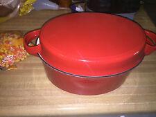 VINTAGE Enamel Pot TECHNIQUE Oval shape CASSEROLE Pot Red ENAMEL CASSEROLE