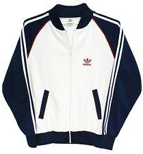 Vtg 80s ADIDAS Track Jacket MEDIUM Red White Blue Trefoil Polyester Taiwan MINT