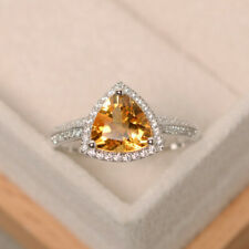 Trillion 2.90 Ct Citrine Gemstone 950 Platinum Anniversary Diamond Ring Size 6