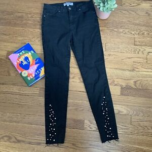 Velvet Heart Pearl Embellished Cropped Alessia Mid Rise Jeans SIZE 27