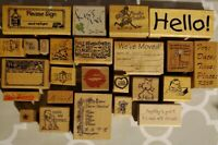 Lot 25 Ink Rubber Stamps wooden back Various Designs, Sayings & symbols