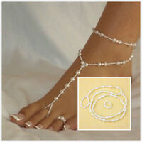 Bridal Beach Pearl Barefoot Sandal Foot Jewelry Anklet Bracelet Ankle Chain LWC