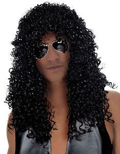 Slash Costume Wig Adult Mens Heavy Metal Rock Star 80s Halloween Fancy Dress