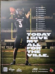 University Louisville Football Cardinals Malik Cunningham 3 Poster Schedule 2021
