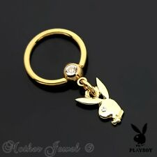 14K YELLOW GOLD IP 16G 10MM PLAYBOY DANGLE CHARM CBR SEPTUM CAPTIVE BALL RING
