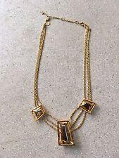 ALEXIS BITTAR Gold Smokey Quartz Pyrite Statement Necklace 3 Stone Pendant Chain