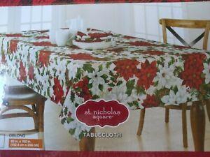 "ST.NICHOLAS CHRISTMAS FESTIVE TABLECLOTH 60"" X 102"" RED,WHITE,GREEN FLOWER PRINT"