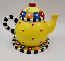 At Home Mary Engelbreit Sakura Afternoon Tea Pot Teapot Me Ink 1995 w/underplate