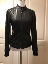 Dolce And Gabbana Leather Jacket Biker Style Size Xs/s Black 100% Lamb Leather