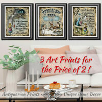 Alice in Wonderland wall art set of dictionary book pages pictures