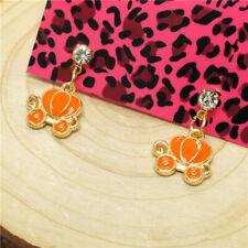 Hot Orange Enamel Crystal Pumpkin Cart Fairy Betsey Johnson Women Stand Earrings