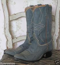 Rare! Vtg Bespoke JUSTIN Blue Denim Jean Brown Leather Cowboy Boots 8.5D US/8 UK