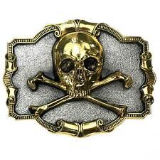 Vergoldetes Buckle Skull & Bones, Pirat, Totenkopf, Gürtelschnalle