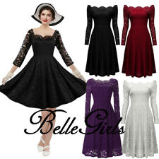 Women Retro 50s Elegant Lace Pinup Evening Cocktail Bridesmaid Party Swing Dress
