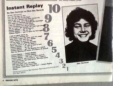 DAN HARTMAN Instant Replay  lyrics magazine PHOTO/Poster/clipping 8x6 inches
