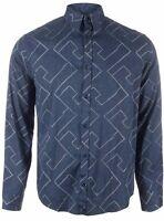 Armani Jeans Mens Blue/Grey Multi-Pattern Shirt All Sizes BNWT RRP £140