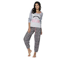 Adore Size Medium Womens Ladies Grey Pyjamas Pjs Set Night Wear Sleep Funky