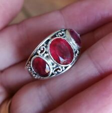 & Quartz Ring size O Pretty Antique Design Sterling Silver Garnet