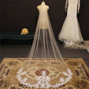 Lace Appliques Wedding Veils with Comb White Ivory Bridal Veil Accessories 2.5 m