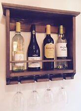 Handmade Wine Rack Beautiful Rustic  Wall Mounted Holds 4 Glasses And Bottles